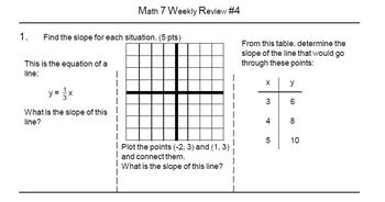 Math 7 Semester 1 Weekly Reviews