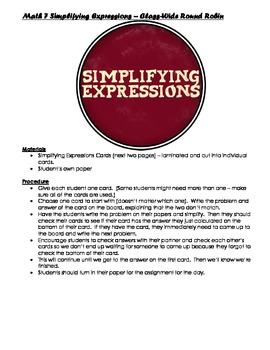 Math 7 Simplifying Expressions Round Robin (Pre-Algebra)