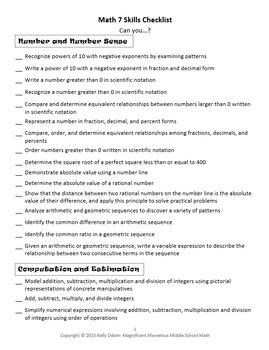 Math 7 Skills Checklist- Editable