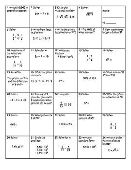 Math 7 Standards Review