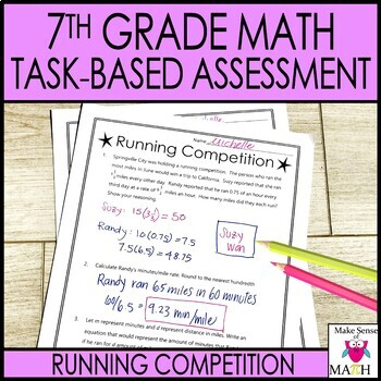 7th Grade Math Task-Based Assessment Rational Numbers Tables Graphs and Percents