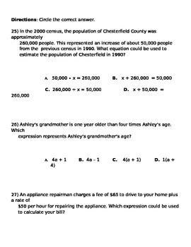 Math 7 Translate Expressions Quiz