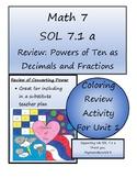 Math 7 Virginia VA SOL 7.1 Coloring Activity Converting Po