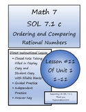 Math 7 Virginia VA SOL 7.1 Ordering and Comparing Rational Numbers Lesson 1-11