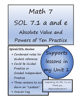Math 7 Virginia VA SOL 7.1 Powers of Ten/Absolute Value Spiral Review 3 versions