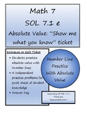 Math 7 Virginia VA SOL 7.1 Absolute Value and Number Line Practice Ticket