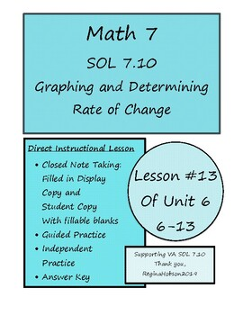 Math 7 Virginia VA SOL 7.10 Determining Unit/Rate of Change Lesson 6-13