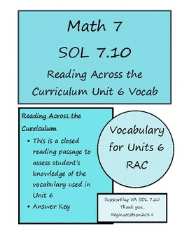 Math 7 Virginia VA SOL 7.10  Reading in Math Vocabulary Review