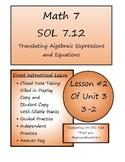 Math 7 Virginia VA SOL 7.12 Translating Expressions and Equations 3-2
