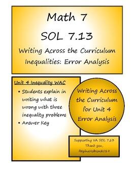 Math 7 Virginia VA SOL 7.13 Error Analysis for Unit 4 on Inequalities