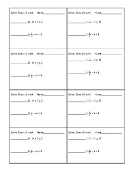 Math 7 Virginia VA SOL 7.13 FREE Warm-up 2-step Inequalities for Unit 4