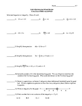 Math 7 Virginia VA SOL 7.13 Review of Inequalities Plus Mixed Review Lesson 4-7