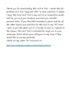 Math 7 Virginia VA SOL 7.13 Test for Unit 4 on Inequalities