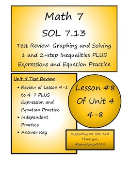 Math 7 Virginia VA SOL 7.13 Unit 4 Test Review on Inequalities  Lesson 4-8
