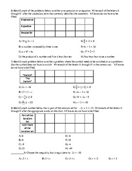 Math 7 Virginia VA SOL 7.13 Word Problems Involving Inequalities Lesson 4-6