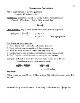 Math 7 Virginia VA SOL 7.3 Proportions - Measurement Conversions Lesson 5-1