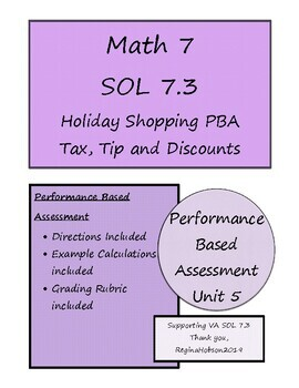 Math 7 Virginia VA SOL 7.3 Shopping PBA for Tax and Discounts for Unit 5