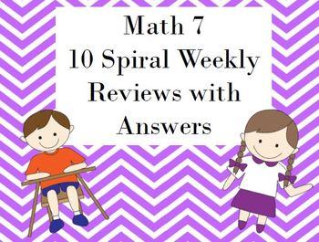 Math 7 Weekly Spiral Reviews (10 weeks)