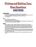 Math 7 Writing Two-Step Equations Activity