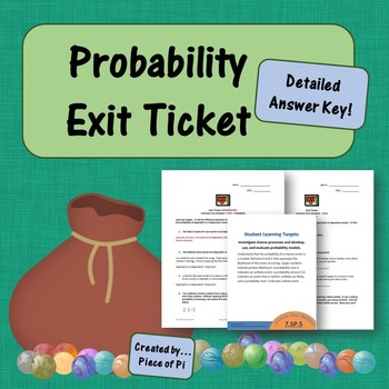 Probability Statistics 7.SP.5 Exit Ticket Mini Quiz Formative Assessment