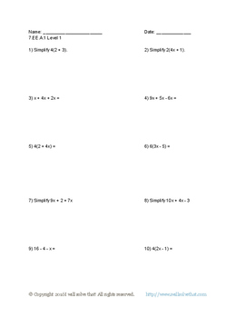 Math 7th Grade: Five Worksheets 7.EE.A.1 Expressions and Equations
