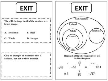 Math 8 Exit Tickets