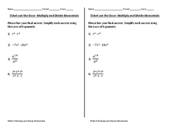 """Math 8 Expressions and Equations """"Tickets Out the Door"""" with Answer Keys"""