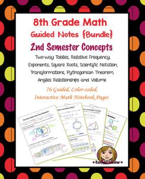 Math 8 Guided Interactive Math Notebook [Bundle]: 2nd Seme