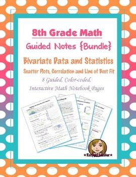 Math 8 Guided Interactive Math Notebook (Bundle): Bivariate Data & Scatter Plots