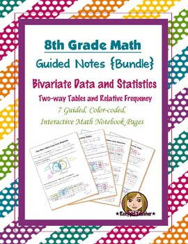 Math 8 Guided Interactive Math Notebook (Bundle): Data and Two-way Tables