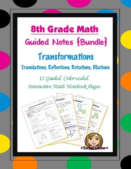 Math 8 Guided Interactive Math Notebook (Bundle): Transformations