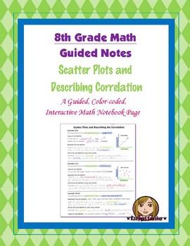 Math 8 Guided Interactive Math Notebook Page: Describing Correlation