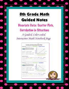 Math 8 Guided Interactive Math Notebook Page: Scatter Plots and Situations