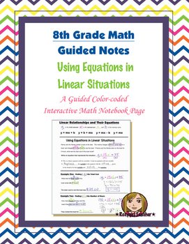 Math 8 Guided Interactive Math Notebook Page: Slope-intercept Form Equation