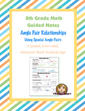 Math 8 Guided Interactive Math Notebook Page: Special Angle Pairs