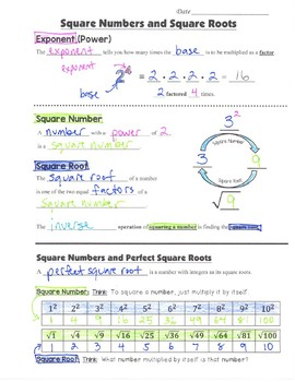 Math 8 Guided Interactive Math Notebook Page: Square Roots and Square Numbers