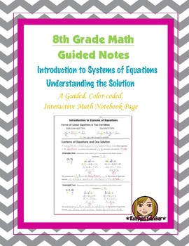 Math 8 Guided Interactive Math Notebook Page: Solutions to Systems of Equations