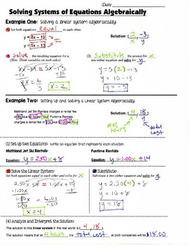 Math 8 Guided Interactive Math Notebook Page: Systems of Equations (4)