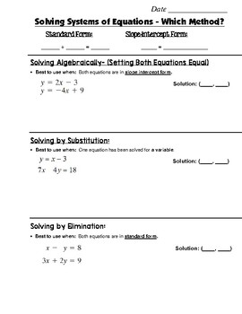 Math 8 Guided Interactive Math Notebook Page: Systems of Equations (8)