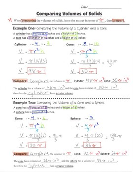 Math 8 Guided Interactive Math Notebook Pages: Finding and Comparing Volumes