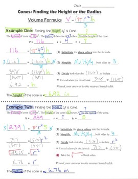 Math 8 Guided Interactive Math Notebook Page: Finding the Height of a Cone