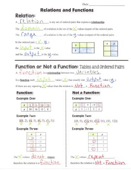 Math 8 Guided Interactive Math Notebook Page: Functions and Relations