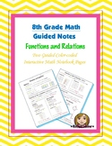 Math 8 Guided Interactive Math Notebook Page: Functions an
