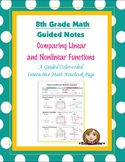 Math 8 Guided Interactive Math Notebook Page: Linear & Nonlinear Functions (1)