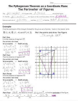 Math 8 Guided Interactive Math Notebook Pages: Pythagorean Theorem & Perimeter