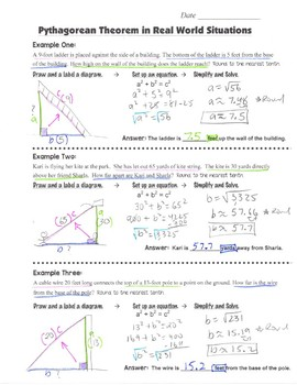 Math 8 Guided Interactive Math Notebook Pages: Pythagorean Theorem Word Problems