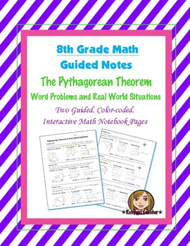 Math 8 Guided Interactive Math Notebook Pages: Pythagorean