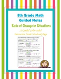 Math 8 Guided Interactive Math Notebook Page: Rate of Change in Situations