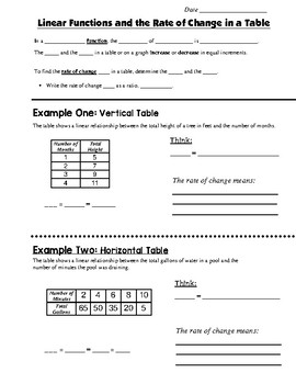 Math 8 Guided Interactive Math Notebook Page: Rate of Change in a Table