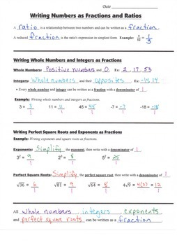 Math 8 Guided Interactive Math Notebook Pages: Ratios and Fractions